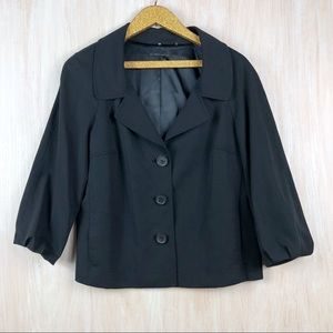 Elie Tahari Black Fine Wool Blend Blazer Jacket